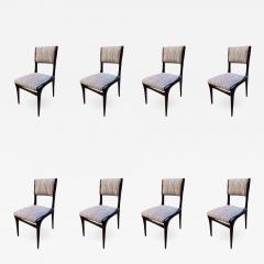 Carlo de Carli Carlo de Carli Chairs Set of 8 Reupholstered with Vintage Fabric Italy - 1468647