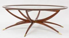 Carlo de Carli Italian Modern Mahogany Brass and Glass Low Table Carlo de Carli - 61084
