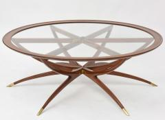 Carlo de Carli Italian Modern Mahogany Brass and Glass Low Table Carlo de Carli - 61085