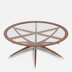 Carlo de Carli Italian Modern Mahogany Brass and Glass Low Table Carlo de Carli - 63828
