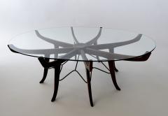 Carlo de Carli Italian Modern Mahogany Steel and Glass Coffee Table - 1009791