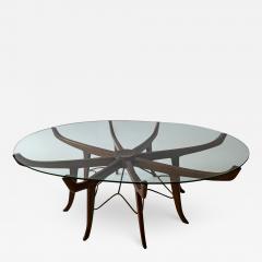 Carlo de Carli Italian Modern Mahogany Steel and Glass Coffee Table - 1310369