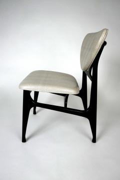Carlo di Carli Italian Modern Ebonized and Faux Snake Skin Upholstered Chairs Carlo Di Carli - 852290