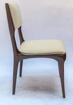 Carlo di Carli Set of 12 Carlo de Carli Dining Chairs in Ivory Linen 1950s - 1177836