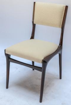 Carlo di Carli Set of 12 Carlo de Carli Dining Chairs in Ivory Linen 1950s - 1177841