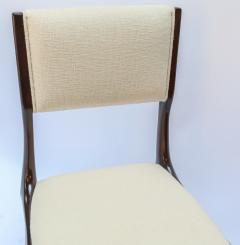 Carlo di Carli Set of 12 Carlo de Carli Dining Chairs in Ivory Linen 1950s - 1177842