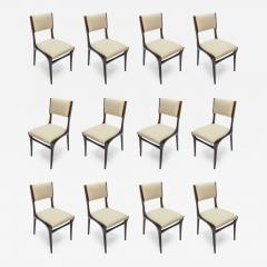 Carlo di Carli Set of 12 Carlo de Carli Dining Chairs in Ivory Linen 1950s - 1235983