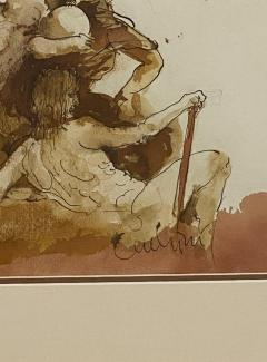 Carlos Marchiori Vintage Pen and Ink of Angel by Carlo Machiori 20th Century - 1798705