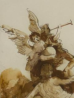 Carlos Marchiori Vintage Pen and Ink of Angel by Carlo Machiori 20th Century - 1798706