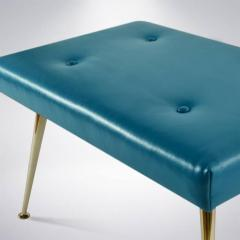 Carlos Solano Granda Pair of Blue Leather and Brass Benches - 116894
