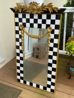 Carol Canner Carvers Guild BLACK AND WHITE TILE AND GOLD CREST AND DRAPERY MODERN MIRROR - 2053815