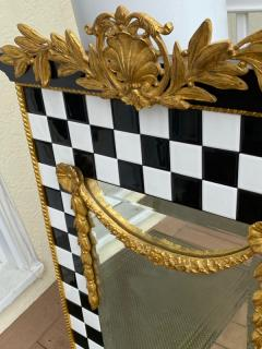 Carol Canner Carvers Guild BLACK AND WHITE TILE AND GOLD CREST AND DRAPERY MODERN MIRROR - 2053816