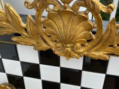 Carol Canner Carvers Guild BLACK AND WHITE TILE AND GOLD CREST AND DRAPERY MODERN MIRROR - 2053818