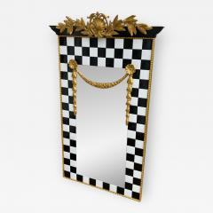 Carol Canner Carvers Guild BLACK AND WHITE TILE AND GOLD CREST AND DRAPERY MODERN MIRROR - 2055486