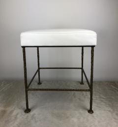 Carole Gratale Square Stool Cast Bronze Base Leather Seat Pair  - 1655926