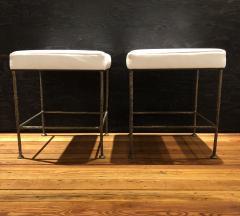 Carole Gratale Square Stool Cast Bronze Base Leather Seat Pair  - 1655954