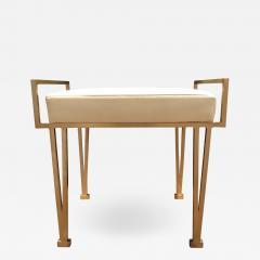 Carole Gratale V Leg bench Satin bronze base Leather upholstered seat - 1657254