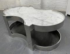Carrara Marble and Chrome Two Tier Coffee Table - 1943131