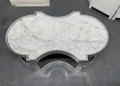 Carrara Marble and Chrome Two Tier Coffee Table - 1943132