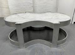 Carrara Marble and Chrome Two Tier Coffee Table - 1943133