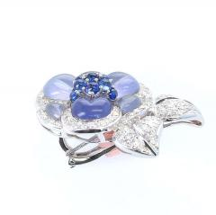 Carved Chalcedony Floral Brooch with Diamonds and Sapphires White Gold - 1861601