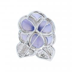 Carved Chalcedony Floral Brooch with Diamonds and Sapphires White Gold - 1864145
