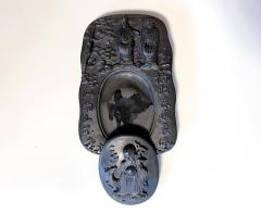 Carved Chinese Inkstone with Longevity Symbols and Marks - 1847403