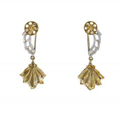 Carved Citrine and Diamond Wing Earrings 14 Karat Gold - 1819869