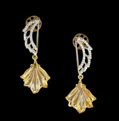 Carved Citrine and Diamond Wing Earrings 14 Karat Gold - 1819871