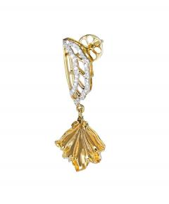 Carved Citrine and Diamond Wing Earrings 14 Karat Gold - 1819873