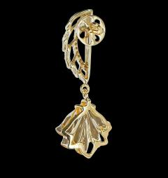 Carved Citrine and Diamond Wing Earrings 14 Karat Gold - 1819875