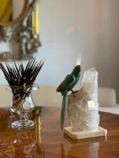 Carved Cockatiel Bird on Quartz Sculpture - 1199236