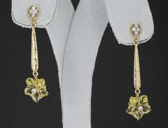 Carved Floral Lemon Topaz Drop Earrings with Diamonds 14 Karat Gold - 1819905