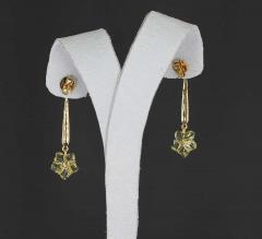 Carved Floral Lemon Topaz Drop Earrings with Diamonds 14 Karat Gold - 1819908