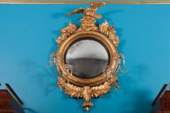 Carved Gilt Wood Convex Girandole Mirror - 323766