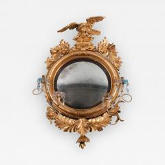 Carved Gilt Wood Convex Girandole Mirror - 324181