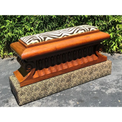Carved Italian Neoclassical Mahogany Metamorphic Window Bench Jardiniere - 2029707
