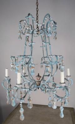 Carved Italian Wood Beaded and Iron Painted Chandelier - 577281