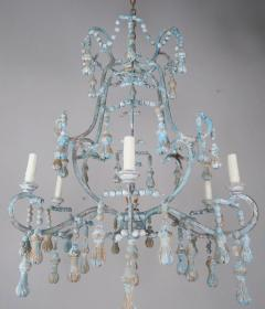 Carved Italian Wood Beaded and Iron Painted Chandelier - 577282