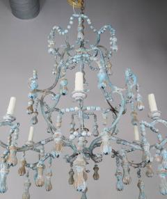 Carved Italian Wood Beaded and Iron Painted Chandelier - 577283