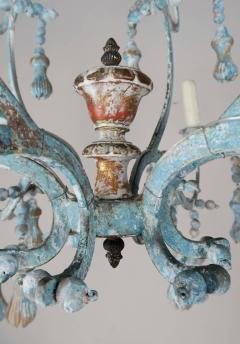 Carved Italian Wood Beaded and Iron Painted Chandelier - 577289