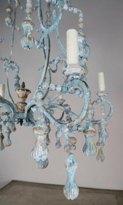 Carved Italian Wood Beaded and Iron Painted Chandelier - 577291