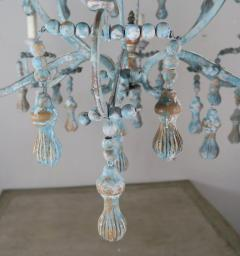 Carved Italian Wood Beaded and Iron Painted Chandelier - 577292