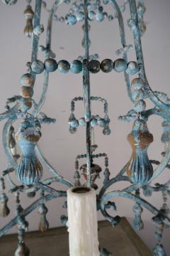 Carved Italian Wood Beaded and Iron Painted Chandelier - 577294