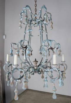 Carved Italian Wood Beaded and Iron Painted Chandelier - 577296