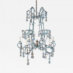 Carved Italian Wood Beaded and Iron Painted Chandelier - 578322