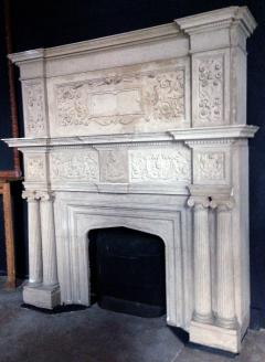 Carved limestone tudor revival mantel for Tudor style fireplace