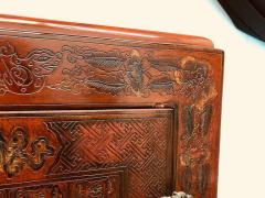 Carved Red Asian Armoire - 462157
