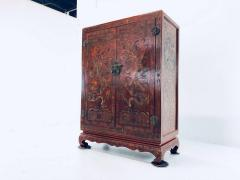 Carved Red Asian Armoire - 462158