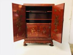 Carved Red Asian Armoire - 462160